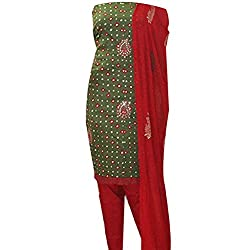 APKAMART Women Cotton Tie and Dye or Rajasthani Bandhej Dark Green and Red - Unstitched Dress Material - 2.2 Meters