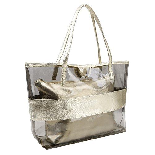 Zicac-Damen-Handbag-2-Tasche-Fashion-Freizeit-Sandstrand-Handtasche-Durchsichtig-Taschen-Gold