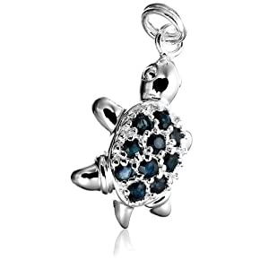 sterling silver sapphire turtle charm