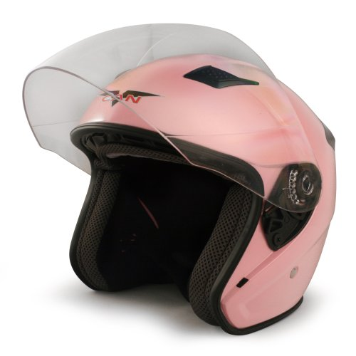 VCAN V526 Metro Open Face Helmet with Full Face Shield (Pink, X-Small)