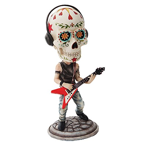 DAY OF THE DEAD BOBBLEHEAD LEAD GUITARIST SKELETON FIGURINE