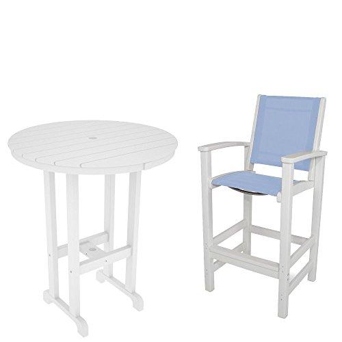 casa bruno bar essgruppe coastal 2 st hle mit armlehne tisch 90 cm aus recyceltem polywood. Black Bedroom Furniture Sets. Home Design Ideas