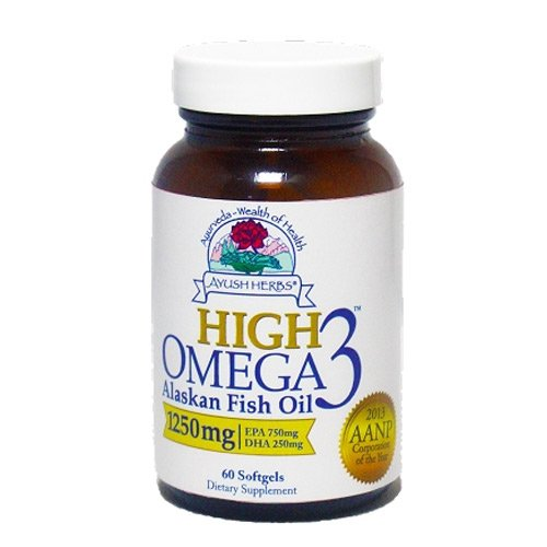 Ayush herbs high omega 3 herbal supplement 60 count for Omega 3 fish oil benefits skin
