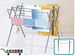 1 Piece HOMIES Brand (Registered), Multi-function utility Laundry clothes drying rack, hanger storage, storage cart with wheels, Trolley for easy mobility, Portable Stainless Steel foldable pole Clothes Rack Hanger Cloth Garment Dryer(Multicolor)
