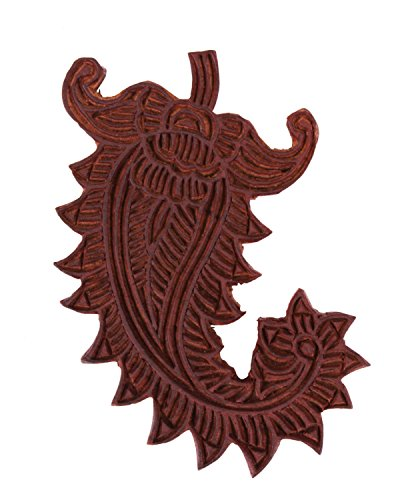 Precisely Hand Carved Mehendi Design Rosewood Fridge Magnet Block Print Stamp for Men Women