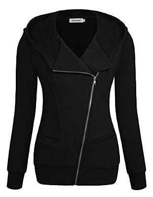 Ninedaily Women Sweatshirt Long Sleeve Oblique Zipper Casual Hoodie Jacket