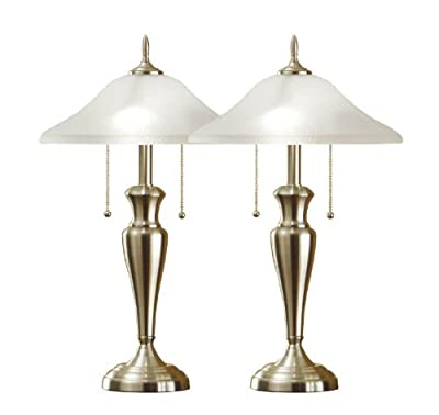 Artiva USA Twin-Pack Classic Cordinates, 24-Inch Brushed Steel Table Lamps Set with High Quality Hammered Glass Shades