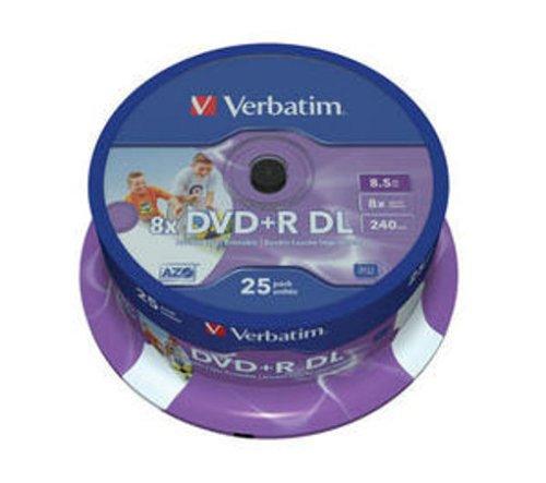 Verbatim 43667 8x DVD+R Dual Layer 8.5GB Printable (Spindle Pack of 25)