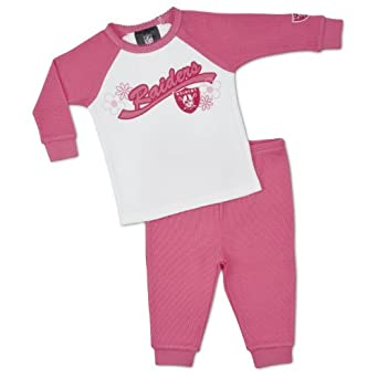NFL Oakland Raiders Thermal Pajamas (2-Piece), Pink, 12 Months