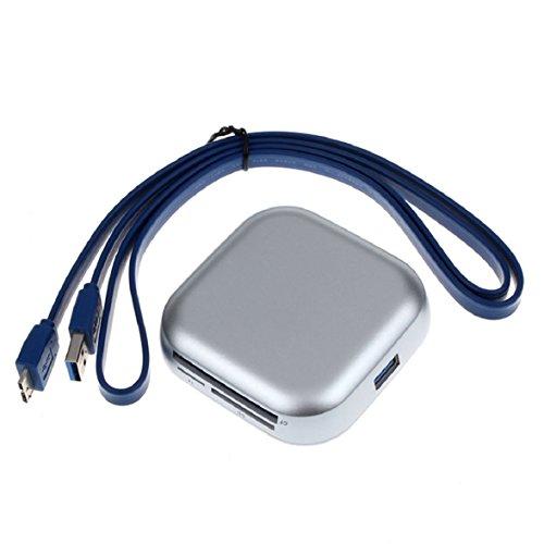 Ukamshop USB 3.0 6 Port Combo HUB Kartenleser CF Adapter SD TF Card Silber
