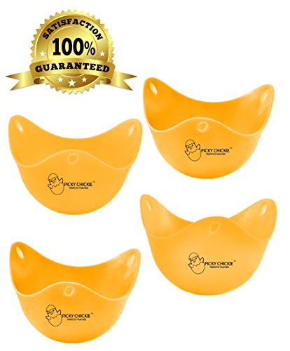 PICKY CHICKIE TM, BEST Silicone Egg Poachers. 4PACK Egg Cups Cookware. BEST Value BEST Quality. Food Grade Silicone Egg Poachers, BPA FREE. Microwave, Boil & Dishwasher Safe!