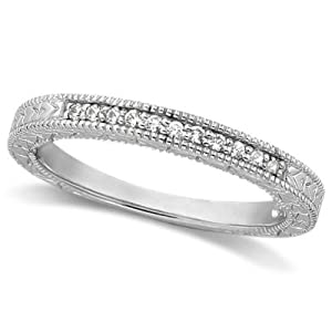 Heirloom Genuine Diamond and Ruby Wedding Ring Anniversary Band 14k White Gold (1.05ct) GH/VS