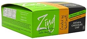 Zing Nutrition Bar-Oatmeal Chocolate Chip-Box - 12 Bars - 1lb. 5.12 oz. Box