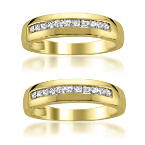 14k Yellow Gold Princess-cut Diamond Men's Same Sex Matching Wedding Band Ring Set (1/2 cttw, H-I, SI2-I1)