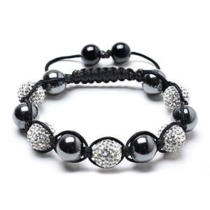 Bling Jewelry Shamballa Inspired Bracelet Magnetic Hematite Balls White Crystal 12mm