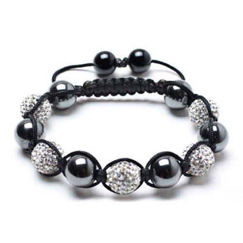 Bling Jewelry Smooth Magnetic Hematite Balls White Swarovski Crystal Shamballa Bracelet 12mm