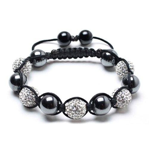 Bling Jewelry Shamballa Inspired Bracelet Magnetic Hematite Balls White Crystal