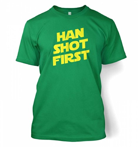"Han Shot First T-shirt - Films,TV And Movie Geeky Tshirt - Kelly Green Medium (38/40"")"