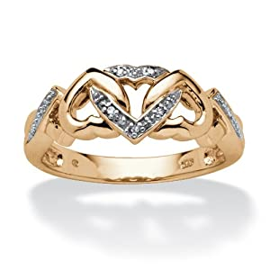White Diamond Accent 18k Gold over .925 Sterling Silver Interlocking Hearts Ring