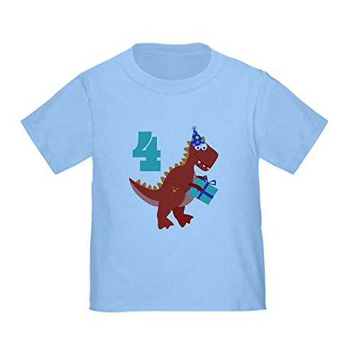 Cafepress 4Th Birthday Dinosaur Toddler T-Shirt - 4T Baby Blue front-1025834