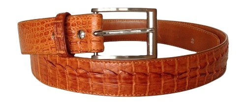 Joy-nin Premium Genuine Crocodile Caiman Full Head to Tail Skin Leather Tan Dress Mens Belt Size 39-40
