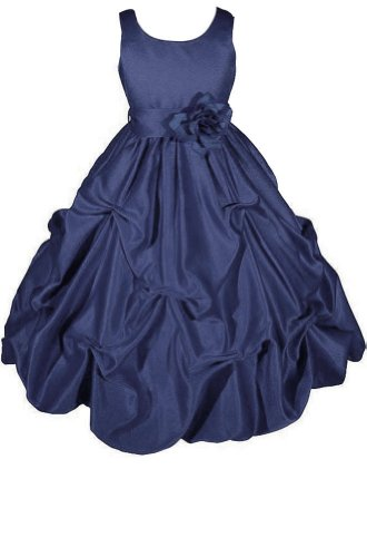 Amj Dresses Inc Girls Navy Flower Girl Holiday Dress Size 8