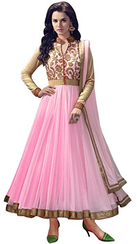 M-Fab-Ethnic-Embroidered-Pink-Net-Free-Size-Straight-Chudidar-Salvar-Suit-Dress-Material