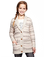 Shawl Collar Textured Striped Cardigan