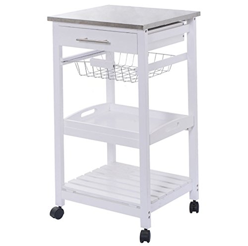 White Kitchen Rolling Cart Trolley Steel Top Removable Tray Storage Basket Drawers 3 Layers (Butcher Block Bar compare prices)