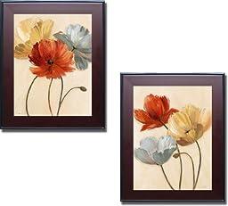 Poppy Palette I & II by Nan 2-pc Premium Mahogany Framed Canvas Set (Ready-to-Hang)
