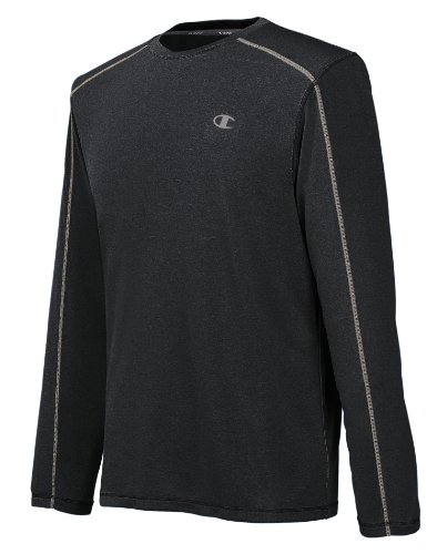 Champion Men's Powertrain Heather Long Sleeve T-shirt, Black Heather, Small