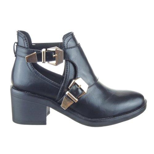 Sopily - Scarpe da Moda Stivaletti - Scarponcini Low Boots Alti donna fibbia Tacco a blocco 6.5 CM - Nero CAT-AS1403 T 39 - UK 6