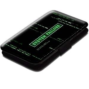 Choses 10051, System Failure, Etui Personnalisé Coque Housse Cover Coquille en Cuir Noir avec Dessin Coloré pour Samsung Galaxy S3 i8190 Mini.