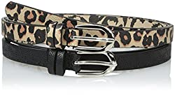 Betsey Johnson Women's Two For One Belt Set with Leopard and Heart Embossed Pant Belt, Leopard/Black, Large