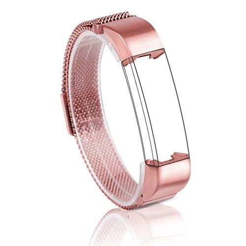 Wearlizer milanese fiocco nastro per metallo arco in acciaio inox Sport Armband per Fitbit alta, rosa oro