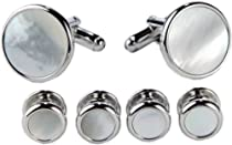 Cufflinks and Studs Set For Tuxedo - Multiple Variations (White Pearl With Silver Trimming)