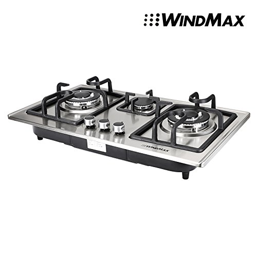 28 in Silver Stainless Steel 3 Burner Built-In Stove NG Gas Cooktop Cooker 8350W (Cooktop 3 Burner compare prices)