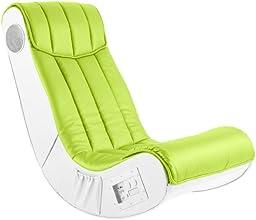 AC Design Furniture 48500 Musiksessel Henk, Bezug Kunstleder lime, Seiten Kunstleder weiß mit eingebautem Soundsystem