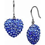 925 Sterling Silver 11 Mm Each Cubic Zirconia Blue Ocean Color Heart Drop Earrings 5.00 Carat Total