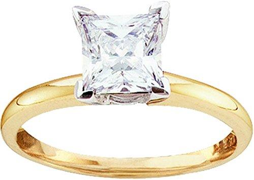 0.50CTW-PRINCESS CUT DIAMOND SOLITAIRE RING (EXE)