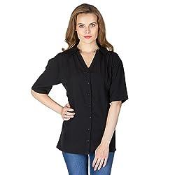 Instict Women's Rayon Shirts (6041602BK_S, Black, Small)