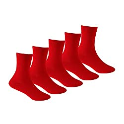 Supersox Kid's Pack of 5 School Combed Cotton Socks (Red)