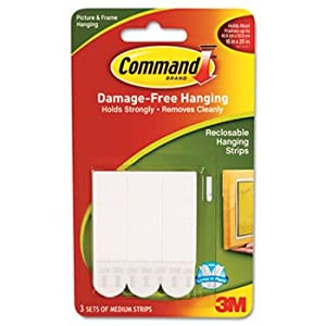 3M 17201OF Hanging Strips,w/Command Adhes.,Holds 3 lbs.,3/4 in.x2 in.,3/PK