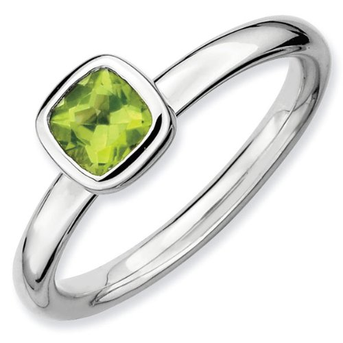 Cushion Cut Peridot Stackable Ring - Size 5