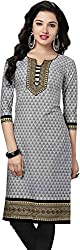 SDM Women's Kurti Printed Cotton Dress Material Unstitched (P-131-Grey, Unstitched)