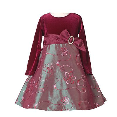 Bonnie Jean Burgundy Girls Christmas Dress