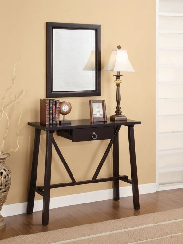 Cheap Brown Straight-Lined Console Table & Mirror & Lamp (B003XR6100)