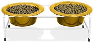Platinum Pets White Modern Double Diner Stand, with Two 2 Cup Rimmed Bowls, Gold