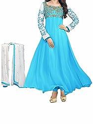 RR FASHION WOMENS GEORGETTE ANARKALI DRESS MATERIAL(A5021_SKYBLUE)