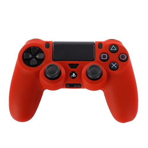 TNP PS4 Controller Case (Red) - Soft Anti-Slip Silicone Grip Case Protective Shell Cover Skin for Sony Playstation 4 PS4 Wireless Game Gaming Controller [PlayStation 4]